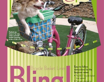 INSTANT DOWNLOAD Bicycle Basket Liner Pattern PDF 4 Liner styles - Finished size 14.5in x 9.5in x 9.5in