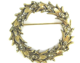 Jeanne Rhinestone Flower Leafe Circle Brooch Wreath Brooch