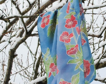 Silk Hand Painted Scarf - Poppies -  Blue Scarf