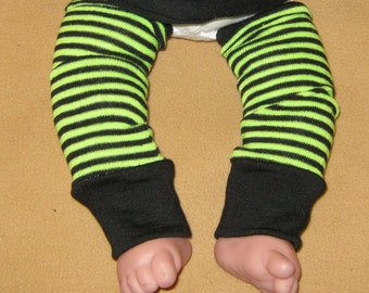 Leg warmer, Infant, Newborn - Thin Stripe's in Lime and Black - infant leg warmer, newborn leg warmer, baby girl leg warmer, baby leg warmer