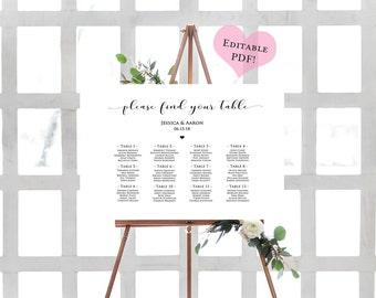 DIY Seating Chart- Printable Wedding Chart- Rustic Seating Plan- Seating Chart Wedding Template- Seating Chart Alphabetical- Wedding Signs