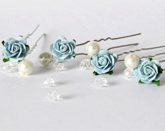 Blue Rose Hair Pins, Wedding Hair Pins, Bridal Hair Accessories, Bridesmaid Hair Pins, Rose and Pearl Hair Pins, Something Blue