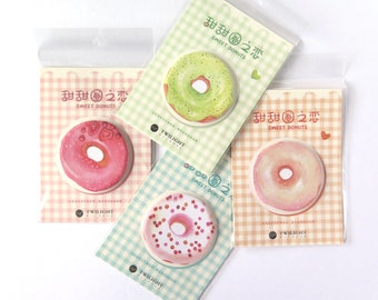 Donut Sticky Notes Post Its Set oF 4 Planner Accessories Doughnuts Memo Pad