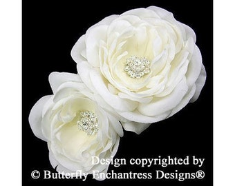 2 Rhinestone Pale Ivory Gracie English Rose Bridal Hair Flower Clips