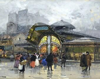 """Paris, Metro Station """"Bastille"""" Painting by Eugène Galien-Laloue Art Print Reproduction"""