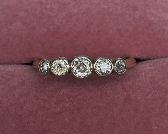 Cecile: Vintage Edwardian Five Stone Diamond Engagement Ring - Old Cut Diamonds, Edwardian