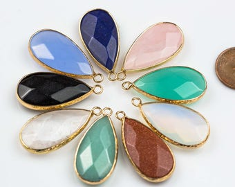 Gorgeous Long Teardrop Assorted Natural Stones Gold Plated Bezel 17*30mm