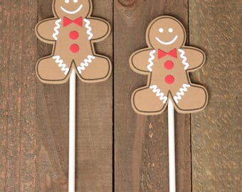 Gingerbread Cupcake Toppers, Christmas Cupcake Toppers, Holiday Cupcake Toppers, Christmas Food Picks, Gingerbread Food Picks,
