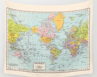 World map tapestry etsy world map wall tapestry dorm room decor vintage map travel decor wall decor atlas den bedroom college dorm room popular gumiabroncs Images