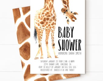 Safari baby shower, safari baby shower invitation, safari invitation, jungle baby shower, jungle baby shower invitation, SAFARI 2 + BACKER