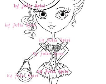 Digital Stamps, Digi stamp, Coloring pages, Girl stamps, Fruity, Watermelon, Scrapbooking. The Fruity Girls Collection. The Watermelon Girl