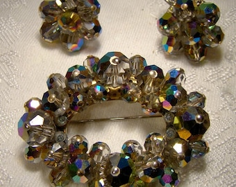 Grey Aurora Borealis Crystal Brooch & Earrings Set 1950s Gray Rainbow Flash