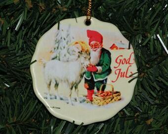 Ceramic Scalloped Edge Ornament - Swedish Christmas God Jul Tomte & Goat #231