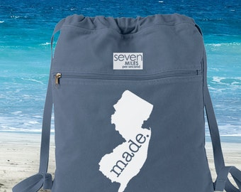 New Jersey NJ Made. Canvas Backpack Cinch Sack