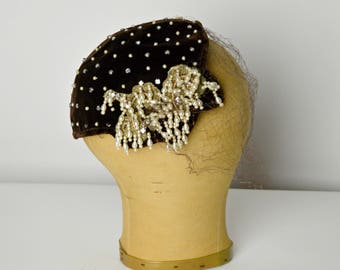 1940s Hat, Brown Hat, Beaded Hat, Mini Hat, Half Hat, Pearl Hat, Millinery Hat, Cocktail Hat,
