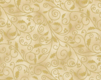 RJR Holiday Accents Cream with Gold Swirl Holly Leaf Christmas Fabric BTY 0781