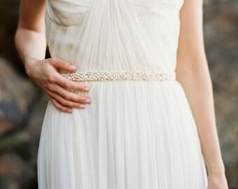 Bridal Sash, Freshwater Pearl and Rhinestone Bridal Sash, Wedding Belt, Handbeaded - Style 8415