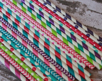 Rock Girl Party Straws -- Set of 20 paper straws --  Monster High -- stripes, chevron, solid, dots -- hot pink, caribbean, purple