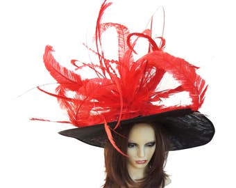Large Crazy Black & Red Hat Fascinator Hatinator Ascot Kentucky Derby Proms
