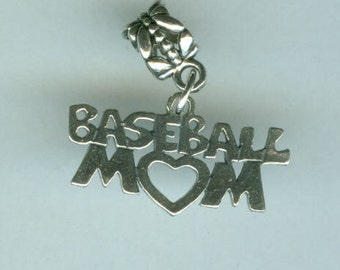 Sterling Silver BASEBALL MOM Bead Charm for all Name Brand Add a Bead Bracelets