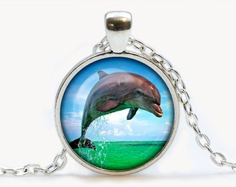 Dolphin pendant Dolphin necklace Dolphin jewelry. Animal necklace, animal pendant, birthday gift