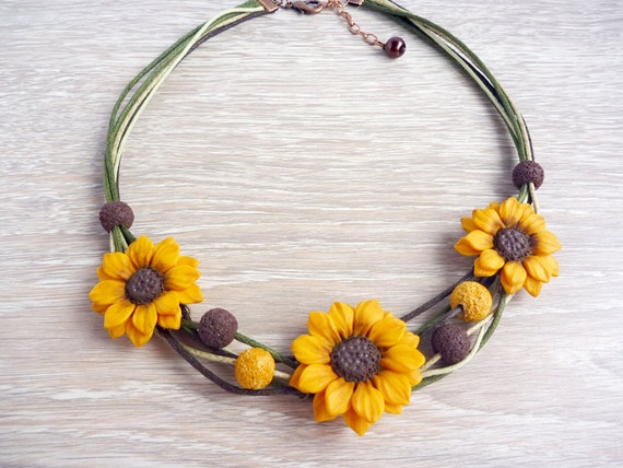 Sunflower necklace sunflower jewelry flower necklace yellow mightylinksfo Choice Image