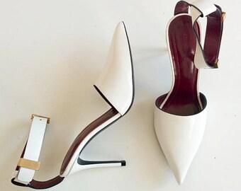 Céline point toe ankle strap pumps with gold buckle