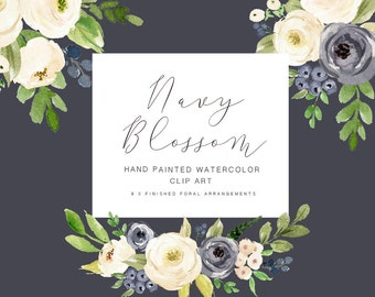 Watercolor flower clipart-Navy Blossom/Individual PNG files/Hand Painted/wedding