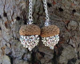 Real Acorn Chain Earrings - Silver Sparkle