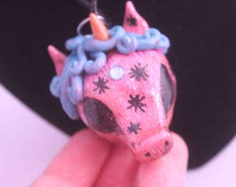 Pink and blue unicorn head necklace