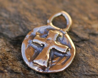 Round Cross Charm in Sterling Silver, R-173