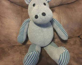 Memory Hippo Keepsake made from clothing of a loved one