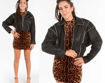 1980s Leather Jacket w/ Extendable Batwing Sleeves / Size M