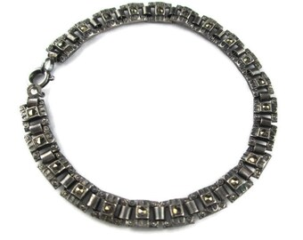 Dainty Edwardian Victorian Bookchain 835 Silver and Marcasite Bracelet