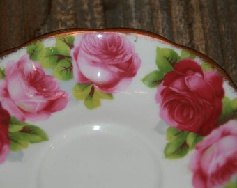 Old English Roses Royal Albert Vintage Orphan Saucer- Vintage Saucer Pink Roses