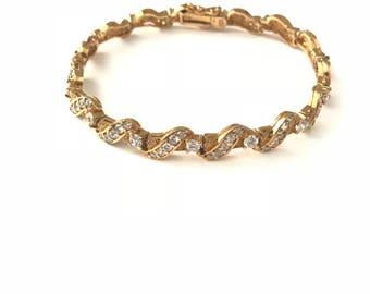 Vintage Sterling Silver Gold Overlay Cubic Zirconia CZ Deco Style Tennis Bracelet