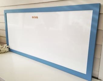 DRY ERASE Whiteboard-MAGNETIC Extra Large Message Board Solid Wood Blue Framed 20 x 44 Modern Handmade Frame Button Magnets
