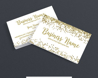 Business Card Glitter Gold Business Card - Gold Business Cards For Etsy Shop - Printable Business Card Design -  Gold Glitter