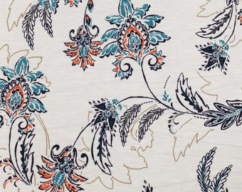 Off White and Turquoise Floral Print Floral Damask on Rayon Spandex Jersey Knit Fabric by the Yard - Style P-10003-HVY-RSJ
