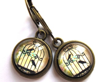 Bird Cage Earrings Vintage Style Retro Birdcage Fashion Jewelry