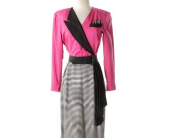 Vintage Christian Dior Pink Black & White Dress - Size 4