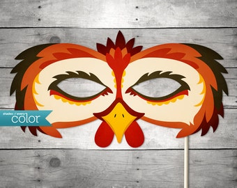 DIY Printable Rooster Mask - Halloween, Birthdays, masquerade ball, mardi gras, and weddings