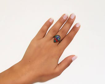 Size 6.75 Tribal Ring, Moroccan Jewelry, Gypsy Ring, Boho Ring, African Ring, Tribal Jewelry, Moroccan Ring, Moroccan Tiles Ring,Ethnic Ring