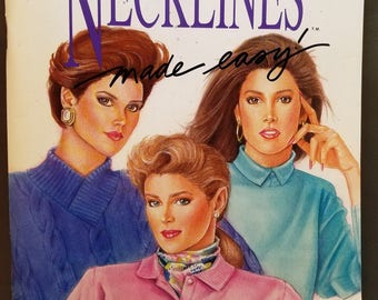 Necklines Made Easy, Stretch and Sew, Ann Person Book and Paper Patterns, 1989, sizes 32 to 46