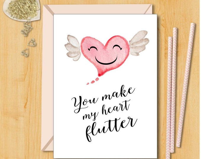 Love Card | You Make My Heart Flutter | Card for Husband | Boyfriend  Card | Card for Girlfriend