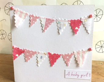 New Baby Girl bunting card. Baby girl. New baby.