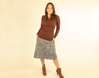 SALE Skirt for Women - A Line  - Pockets - Organic Cotton - Brown Turquoise - Eco Friendly - Organic Clothing