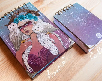 """NOTEBOOK """"Nocturna"""" fantasy a5 or a6 size colour pages, white pages , for drawing, witch, 150 pages, sketchbook, notebook, perfect gift"""