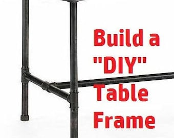 """Black Pipe Table Frame/ TABLE LEGS """"DIY"""" Parts Kit,   1"""" X 42"""" long X 12"""" wide X 34"""" tall"""