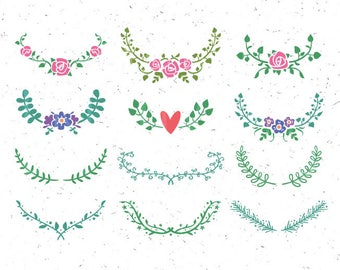 Floral SVG Floral Ornaments svg Floral Clipart svg Wedding wreath svg Flower svg Branch svg Leaves Ornament Svg floral wreath svg Rose svg